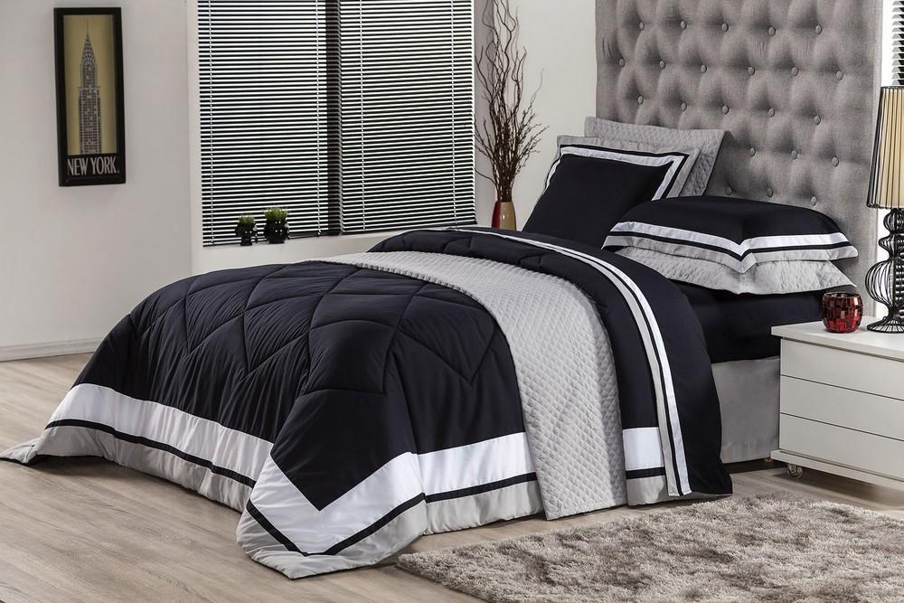 8d219274a5 jogo de lencol solteiro soft comfort 3 pecas preto e branco. Carregando zoom .