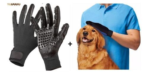 jogo de luva tira pelos pet grooming deshed + true touch pet