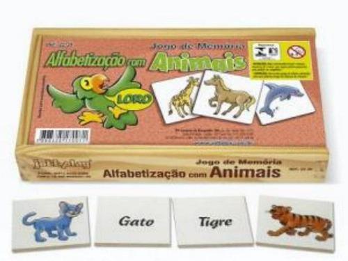 jogo de memória alfabetização com animais 40 pçs - 2239