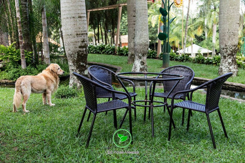 jogo de mesa 4 cadeiras em fibra sintética para sala varanda