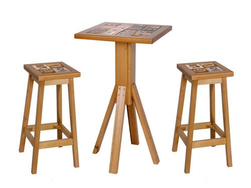 jogo de mesa bar bistrô c/ cerâmica e 2 banquetas de madeira