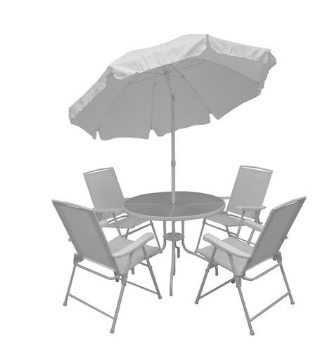 jogo de mesa c/ 4 cadeiras e guarda sol malibu mor - jardim