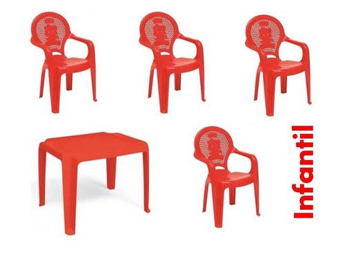 jogo de mesa com 04 cadeiras plástica infantil