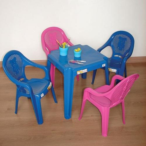 jogo de mesa com 04 cadeiras plástica infantil criança kit