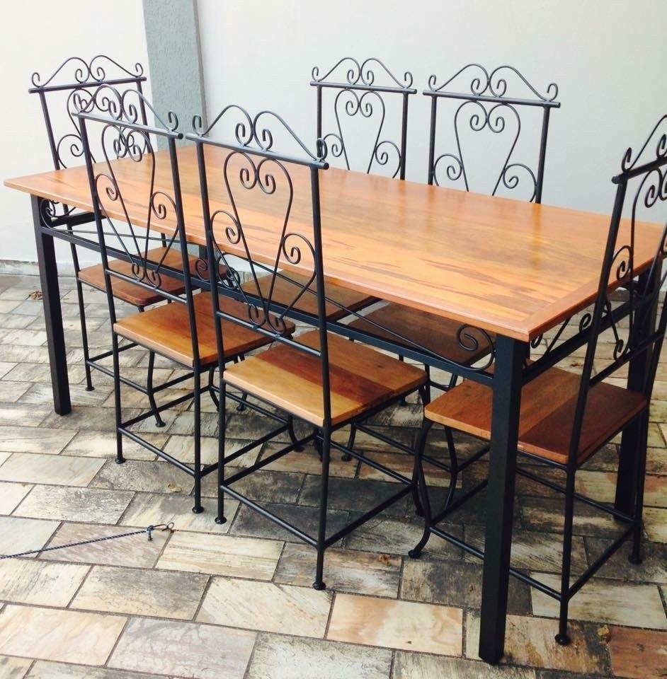 Armario Escritorio ~ Jogo De Mesa Com 6 Cadeiras Ferro E Madeira R$ 1 900,00 em Mercado Livre