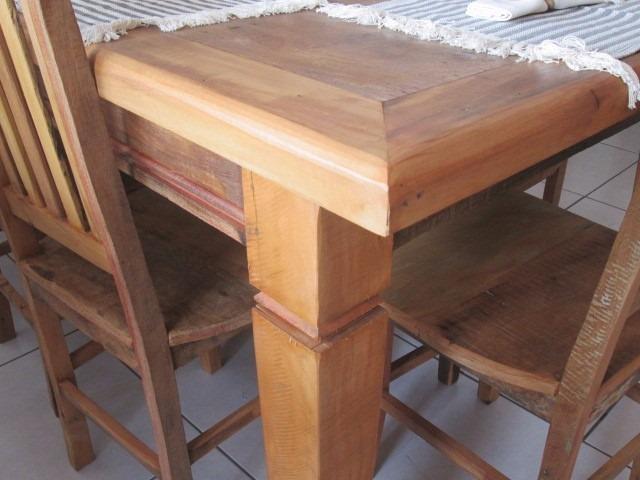 Sala De Jantar Madeira Macica ~ Jogo De Mesa De Jantar 2,00 + 6 Cadeiras Madeira Maciça  R$ 2790,00