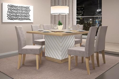 jogo de mesa vince com 6 cadeiras - 11870 dj móveis