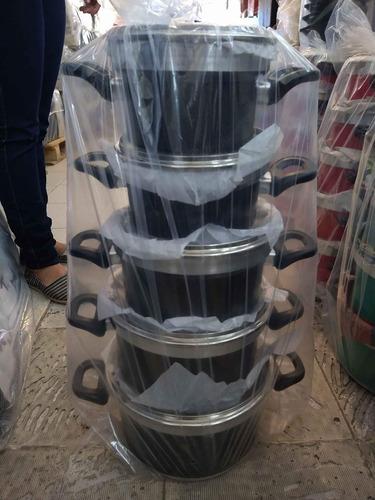 jogo de panela 5 peças com tampa de vidro