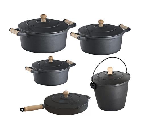 jogo de panela ferro, 3 caçarolas ,1 frigideira ,1 caldeirão