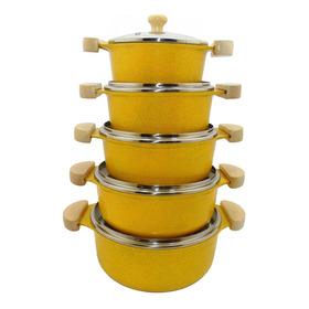 Jogo De Panelas Aluminio Fundido Batido Amarelo Pintadinho