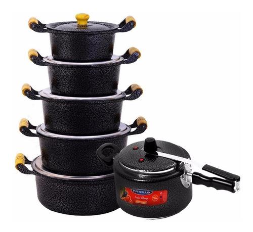 jogo de panelas batido preto com panela de pressão patolux