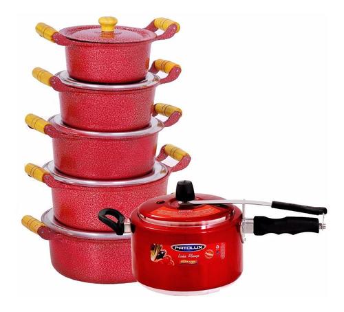 jogo de panelas batido vermelho + panela de pressão patolux