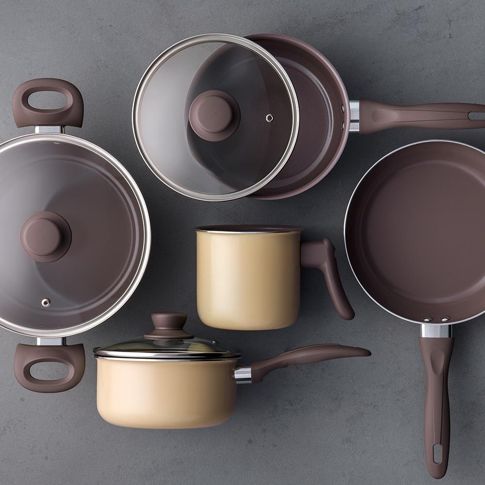 cfbf295f7 Jogo De Panelas Brinox Ceramic Life Smart 5 Peças Mostarda B - R ...