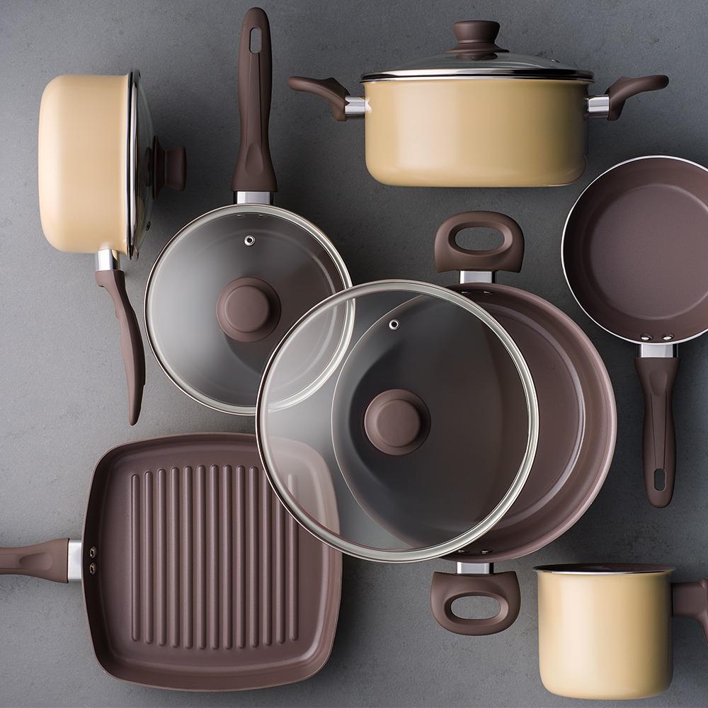 5a61af503 Jogo De Panelas Brinox Ceramic Life Smart 7 Peças Mostarda B - R ...
