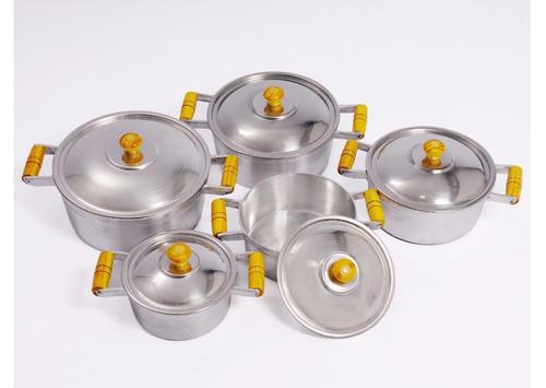 jogo de panelas grossas aluminio batido fundido - 5 peças