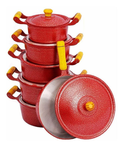 jogo de panelas vermelho aluminio fundido frigideira c tampa