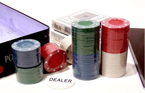 jogo de poker chips profissional 100 fichas 2 baralho 28006