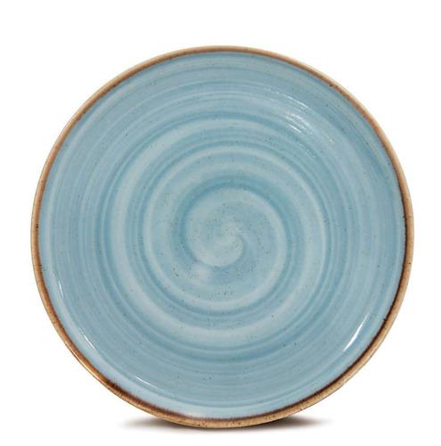 jogo de pratos corona artisan azul rasos 23cm 4 unidades