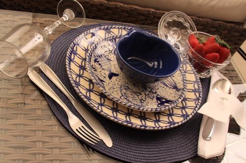 jogo de pratos de sobremesa coup fish porto brasil cerâmica