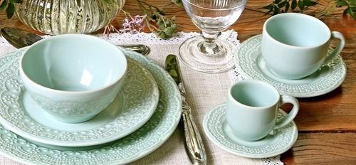 jogo de pratos rasos e de sobremesa madeleine verde 6 unid