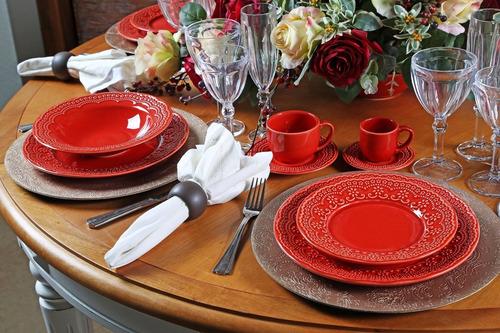 jogo de pratos rasos madeleine vermelho porto brasil 12 un
