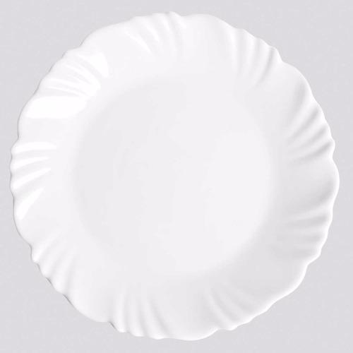 jogo de pratos rasos opaline pétala branco - 12 peças