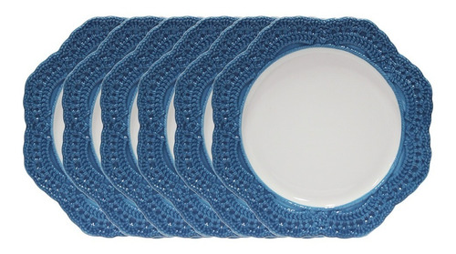 jogo de pratos sobremesa em porcelana wolff givemy 19cm 6 peças azul