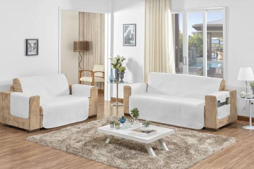 jogo de protetor de sofá branco em microfibra  2 e 3 lugares