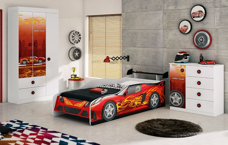 93f74d6028 Jogo De Quarto Carros Sport Car Moveis Estrela Tem Frete - R  999