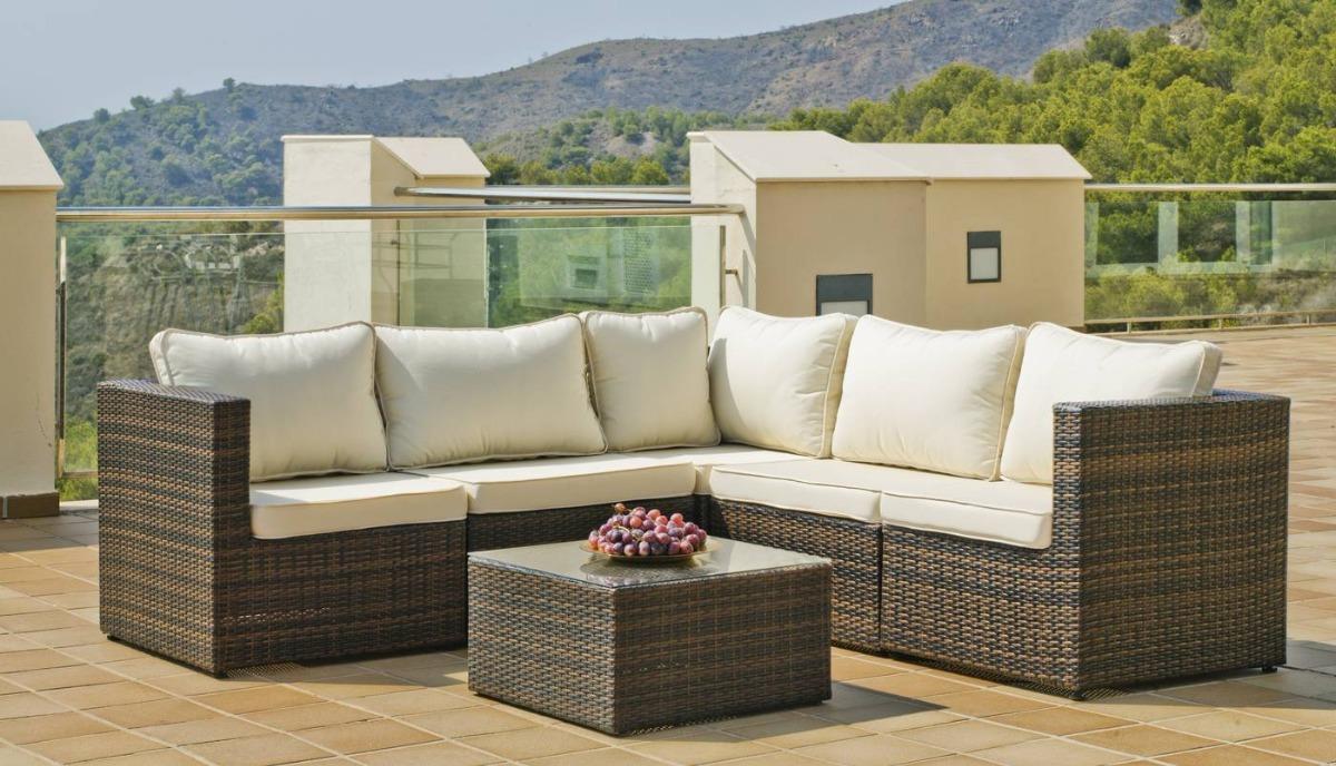 Jogo de sofa 5 modulos fibra sintetica area externa jardim for Muebles para terraza baratos