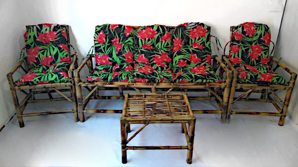 Jogo De Sofá De Bambu 5 Lugares Poltronas Cadeiras ...