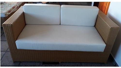 jogo de sofá fibra sintética com estrutura alumínio