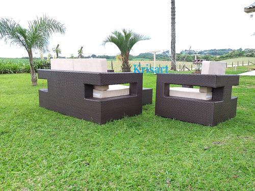 jogo de sofa quadrado de fibra sintetica