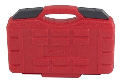 jogo de soquete estriado 1/4 pol 46 pçs corneta com maleta