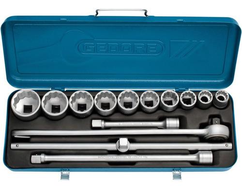 jogo de soquete estriado gedore 3/4 pol 22 a 50 mm 14 peças