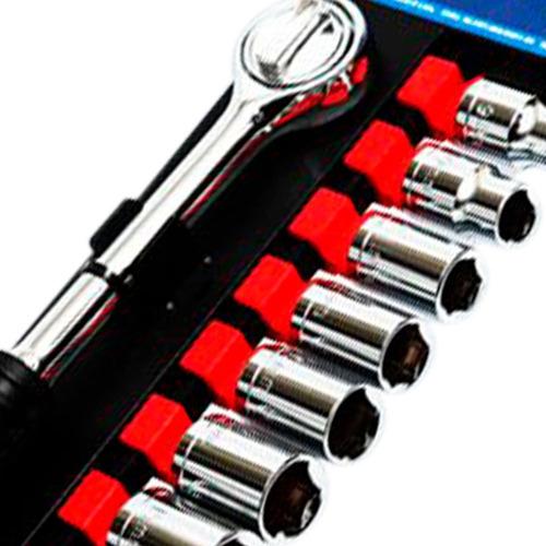 jogo de soquete sextavado com catraca 3/8 pol. com 11 peças-
