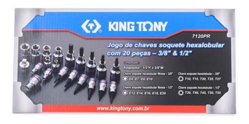 jogo de soquete torx 20 pcs 3/8 - 1/2'' 7120pr king tony