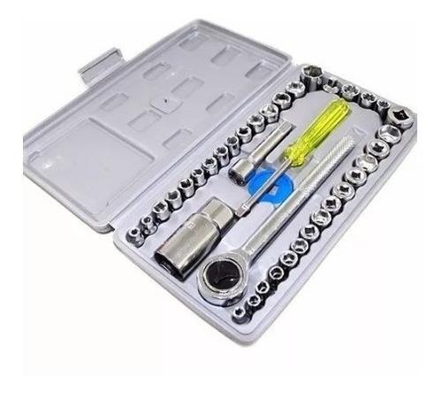 jogo de soquetes 40 chave catraca reversível maleta s40 novo