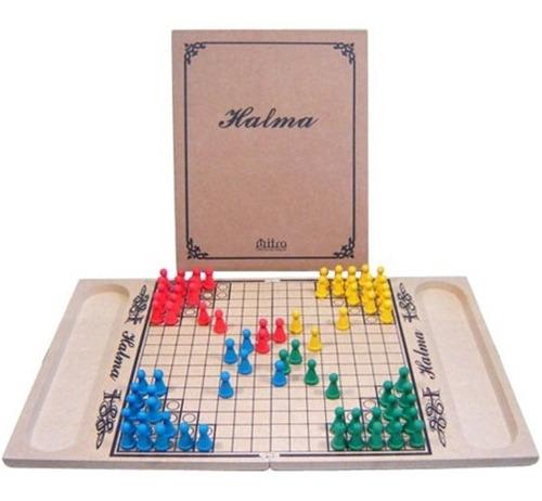 jogo de tabuleiro halma em madeira - oficina de criação mitr
