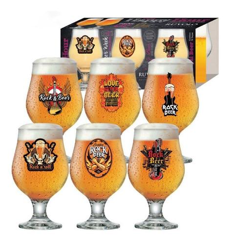 jogo de taças de cerveja vidro rock collection 380ml 6 pcs