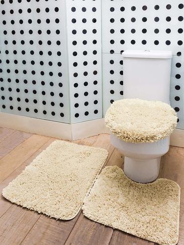 jogo de tapete banheiro encanto 3 peças