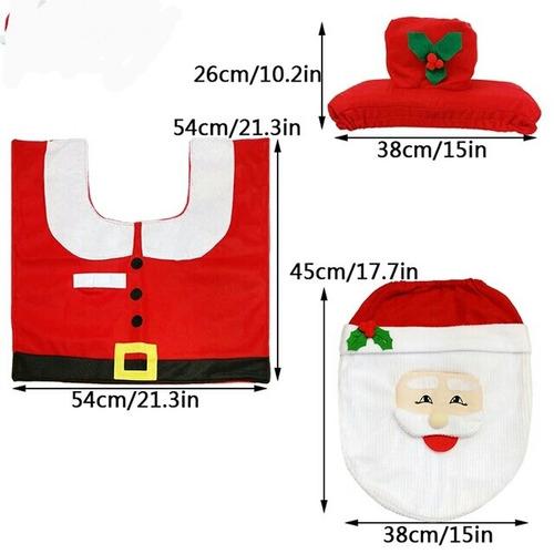 Jogo De Tapete Banheiro Natal Com 3 Pecas Pronta Entrega