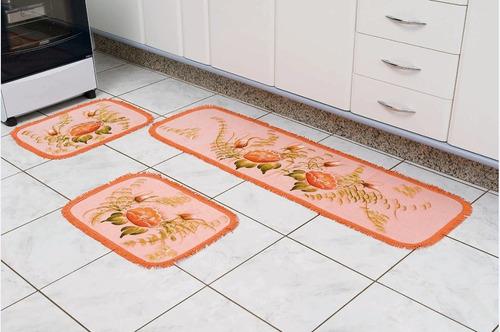 jogo de tapete cozinha franja 3 peças