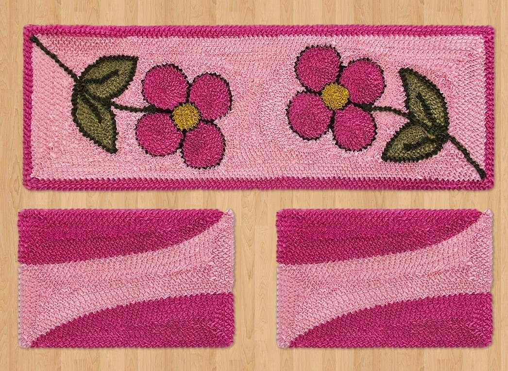Jogo De Tapete E Passadeira 3 Pe As Pink Flor Fru Fru R 99 90 Em  -> Tapete Frufru De Flor