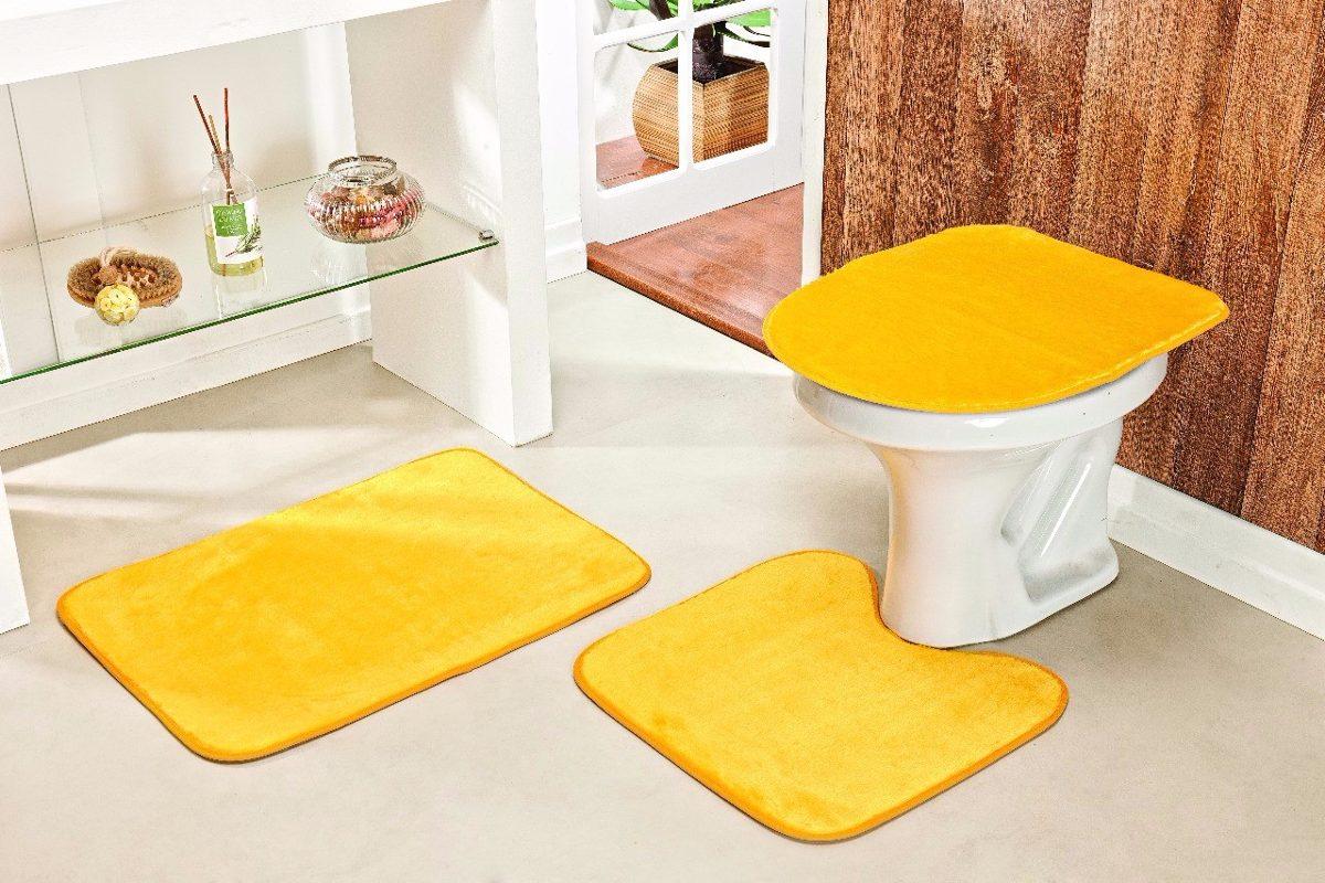 Jogo De Tapete Para Banheiro 3 Peças Cor Amarelo R$ 59 99 em  #C89A03 1200x800 Amarelo No Banheiro