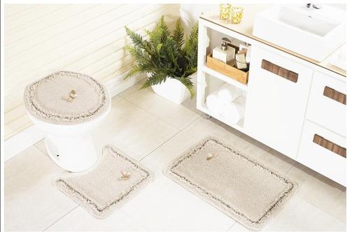 jogo de tapete para banheiro algodão antiderrapante preto