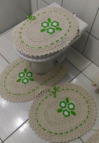 jogo de tapete para banheiro de crochê leia a descrição