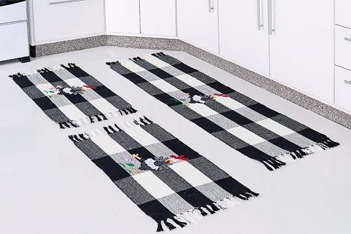 jogo de tapete para cozinha com aplicações bordadas 3 peças