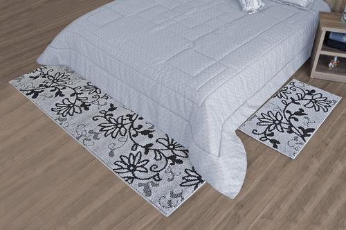 jogo de tapetes 2 peças beira de cama e passadeira ancona