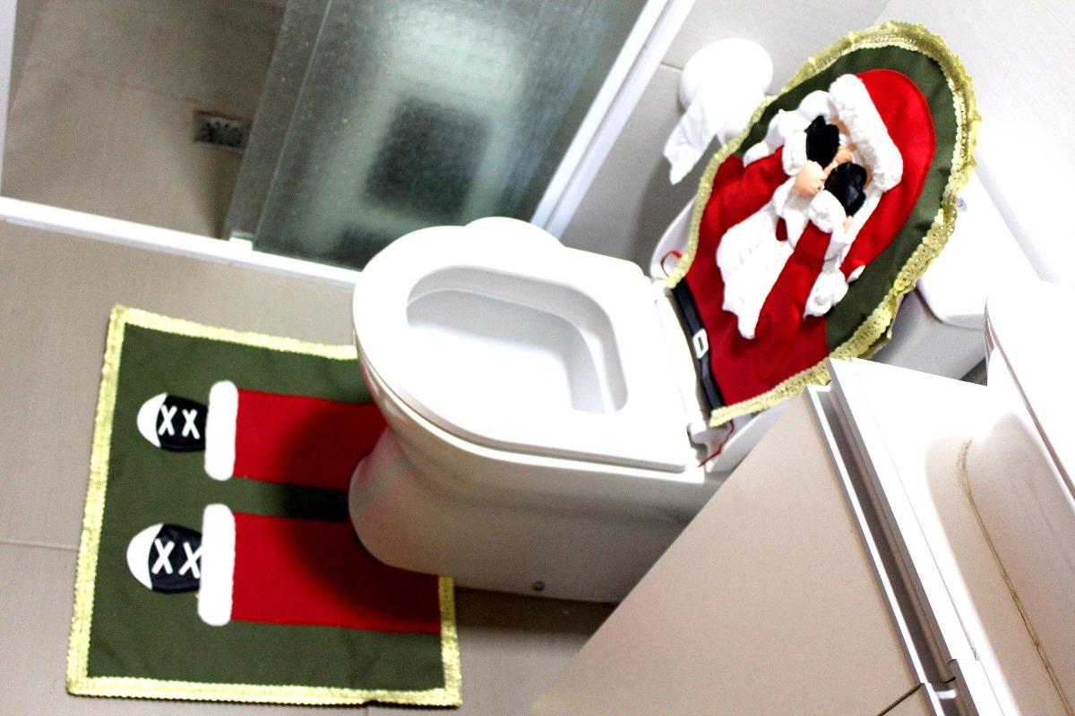 Jogo De Tapetes Banheiro Natal Kit Papai Noel Qualidade Carregando Zoom